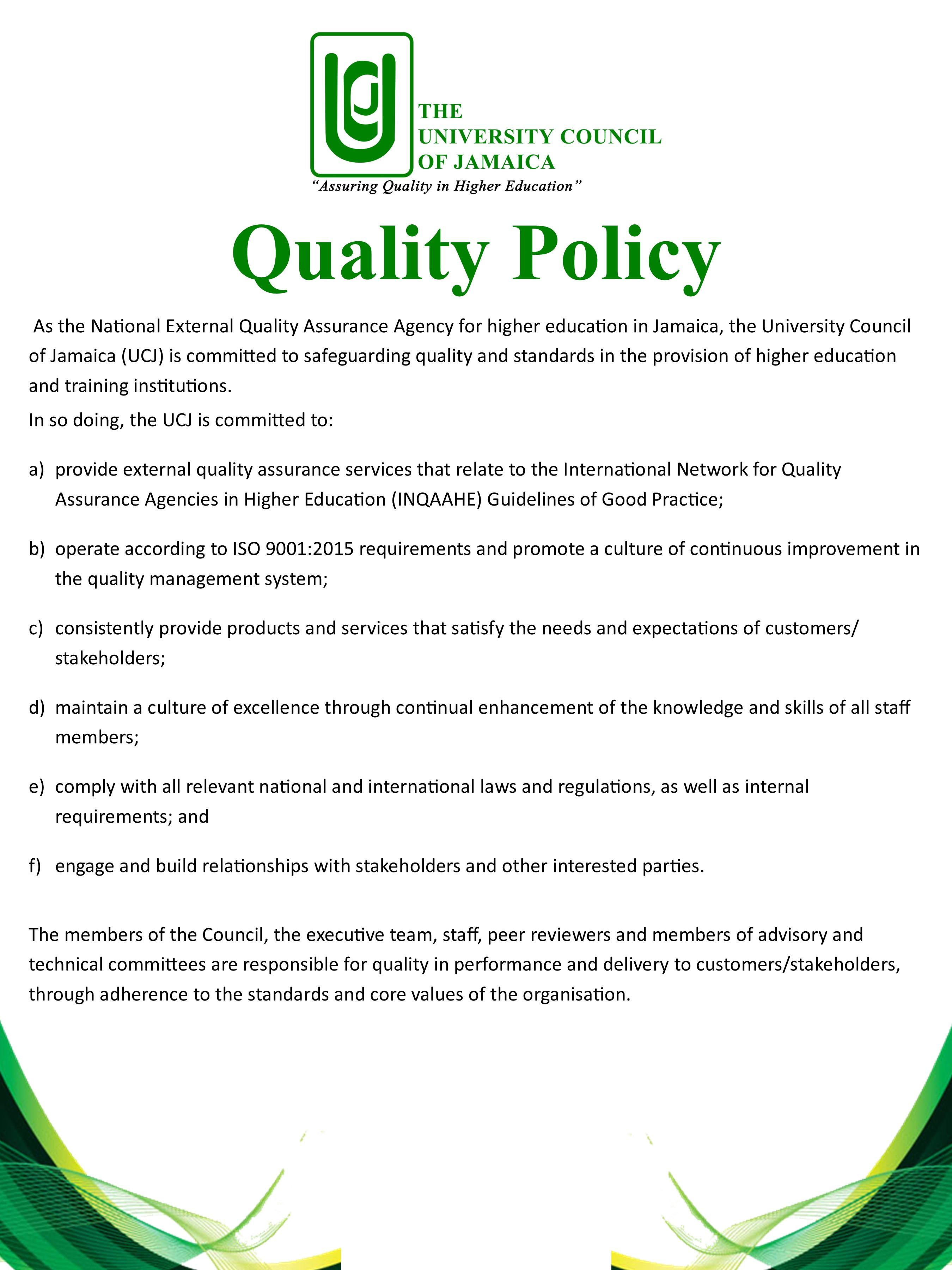 UCJ Quality Policy