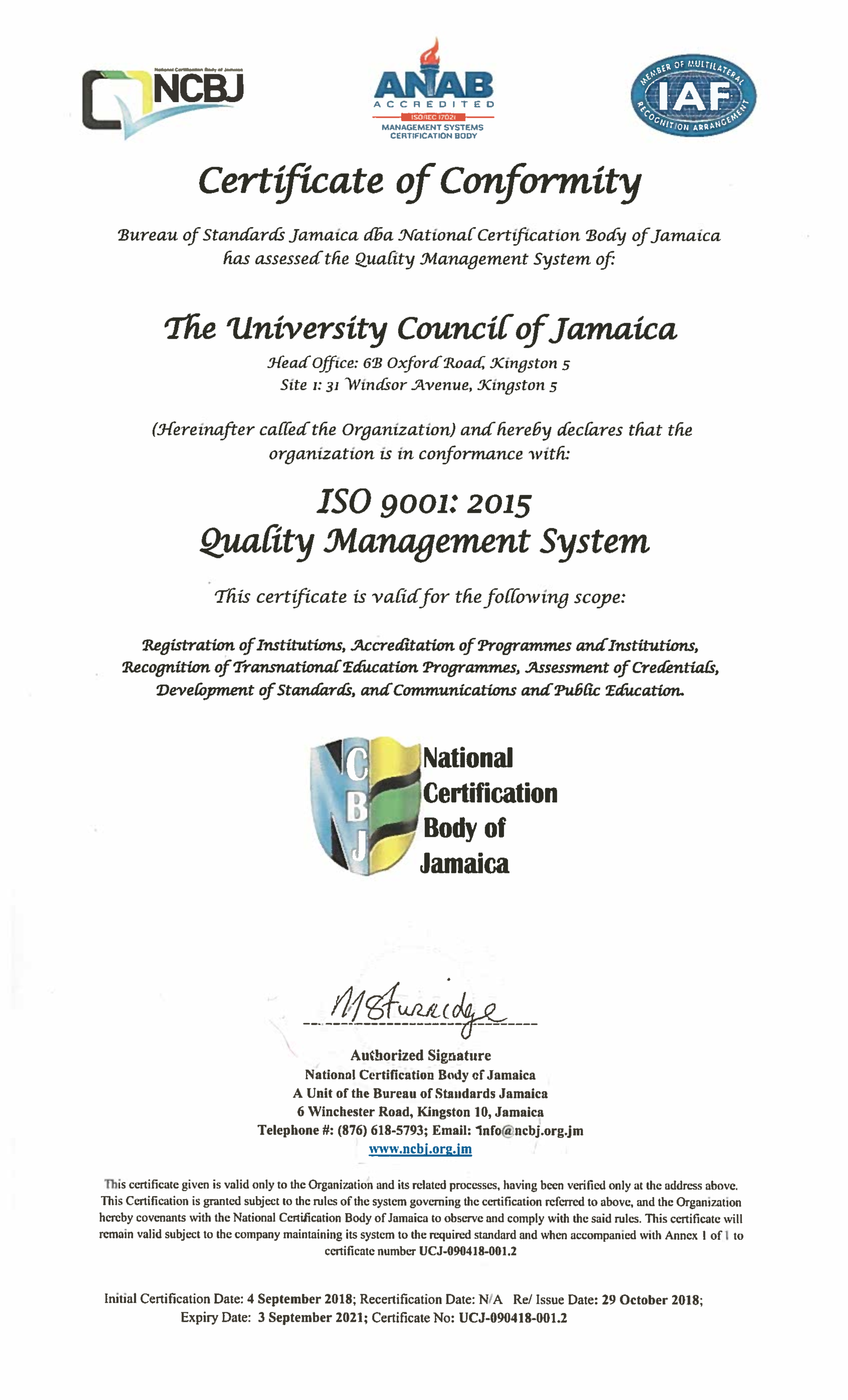 The Ucj Achieves Iso 90012015 Certification The University