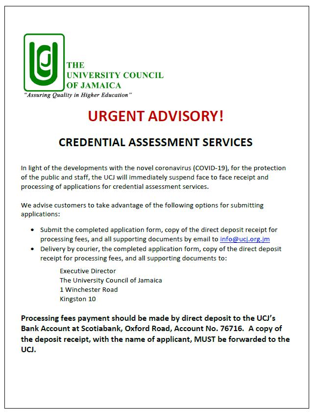 Credential Assessment Notice